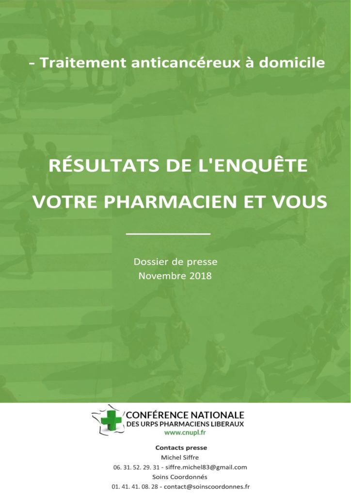 Résultats de l'enquête sur le rôle du pharmacien dans l'accompagnement à domicile des patient sous chimiothérapie orale