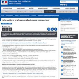 Page Coronavirus sur le site du Ministère de la Santé