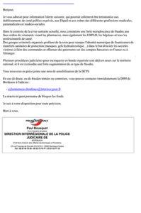 Email de Paul Bousquet Commissaire de police sur la sensibilisation aux fraudes en lien avec la crise sanitaire COVID 19