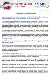 COVID-19 Point de situation en Nouvelle-Aquitaine au 3 avril 2020