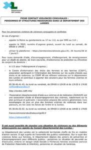 Violences conjugales fiche contact Landes