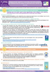 Ressources psychologiques en périnatalité dans le contexte du Covid-19 en Gironde