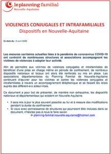 Violences conjugales et intra-familiales : Dispositifs en Nouvelle-Aquitaine