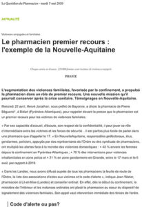 Violences conjugales et familiales Le pharmacien premier recours : l'exemple de la Nouvelle-Aquitaine - Le Quotidien du Pharmacien - mardi 5 mai 2020