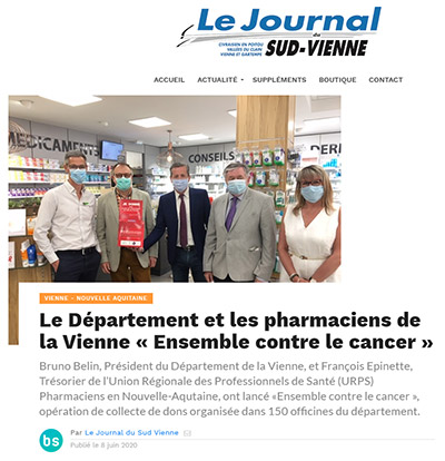 Le Département et les pharmaciens de la Vienne « Ensemble contre le cancer »