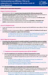 PUI sur la préparation et la réception des vaccins Covid-19 Pfizer/BioNTech