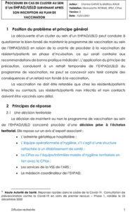 Procédure en cas de cluster au sein d'un EHPAD/USLD survenant après son inscription au plan de vaccination