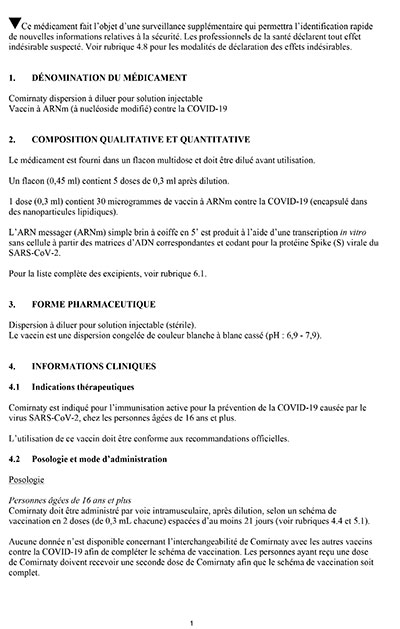 Comirnaty RCP France