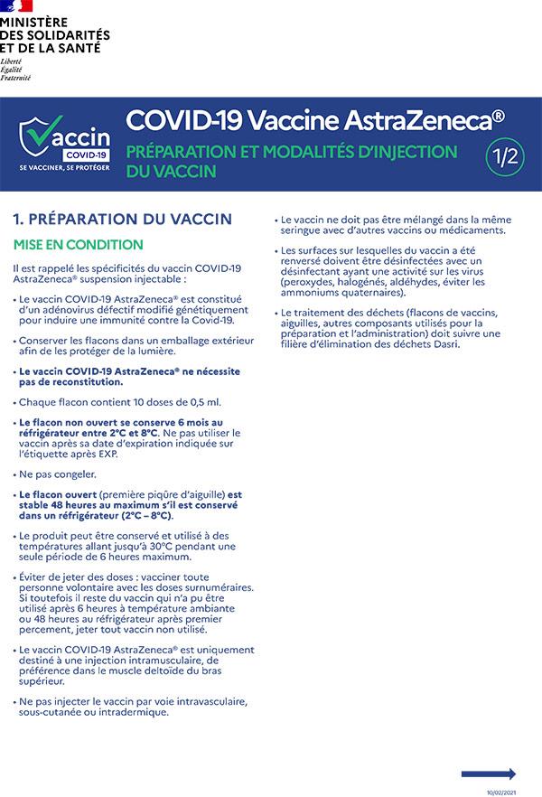 AstraZeneca Préparation et modalités d'injection du vaccin