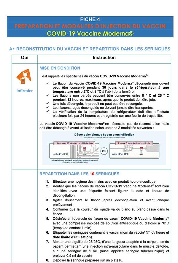 Moderna Préparation et modalités d'injection du vaccin