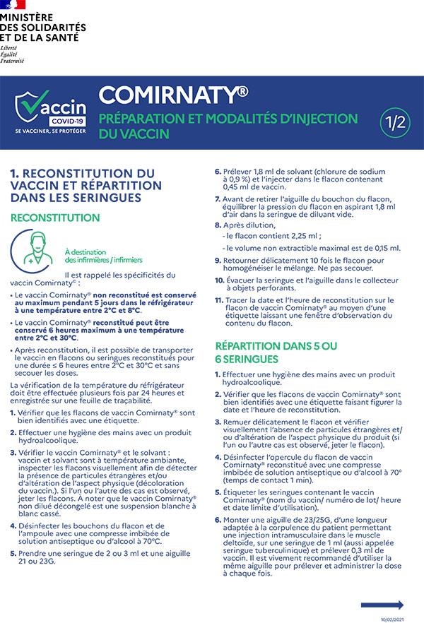 Cominarty Préparation et modalités d'injection du vaccin
