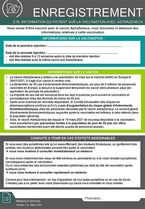 Information patients vaccination AstraZeneca