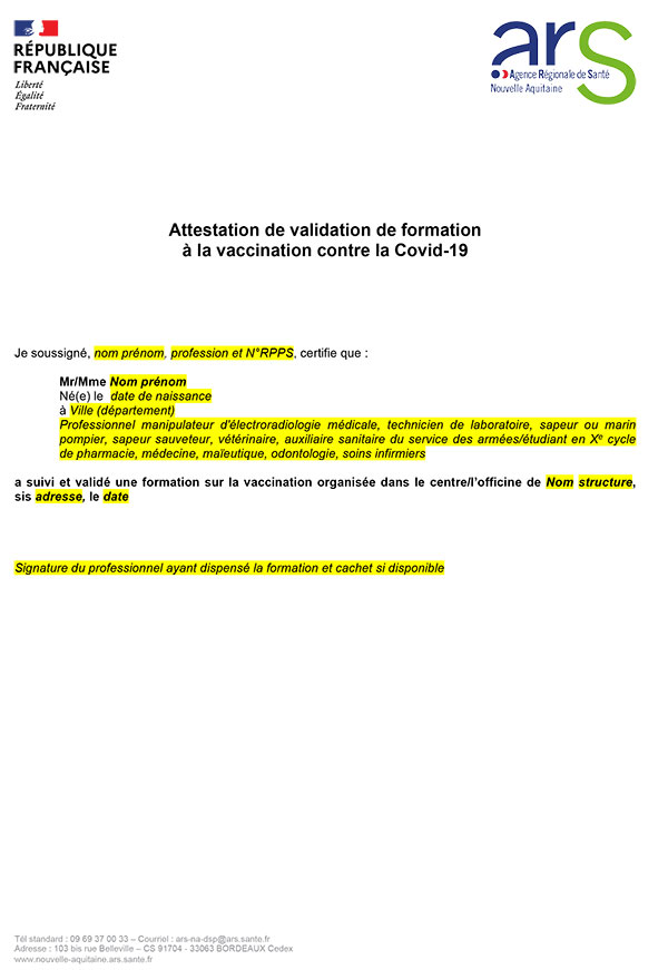Modèle attestation vaccination word