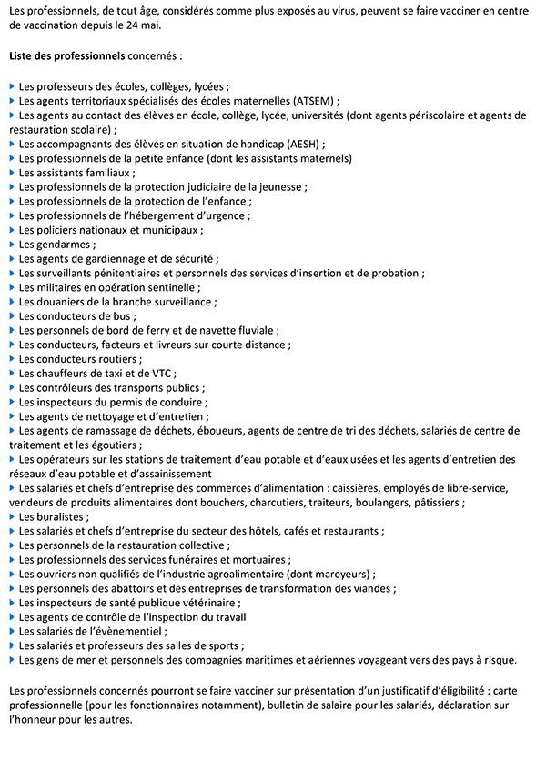 Professionnels prioritaires à la vaccination le 24 mai 2021
