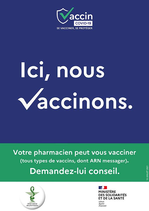 Affichette Ici nous vaccinons pharmacies Nouvelle Aquitaine