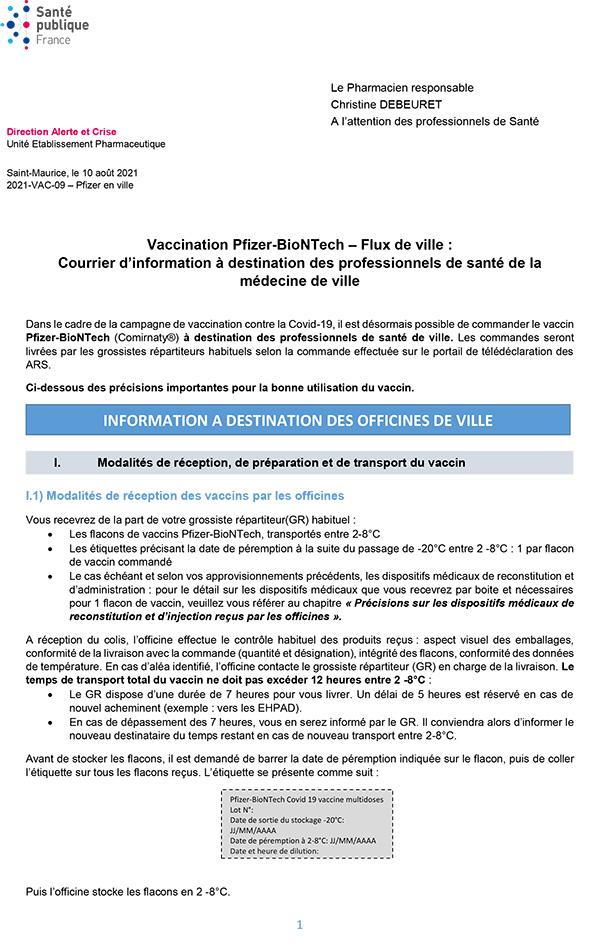 Pfizer-BioNTech Information Pharmaciens